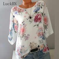 Verão floral impressão feminina blusa 5xl plus size chiffon blusas meia manga camisa de praia camisas trabalho escritório blusas femininas topos