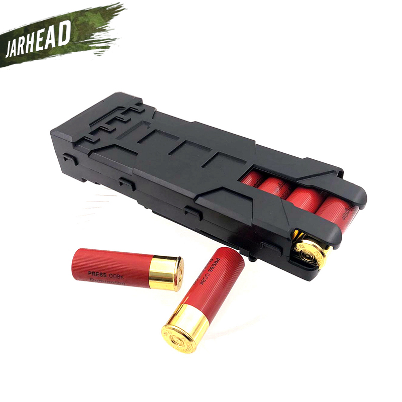 Quick Access Shotgun Shell Magazine Carrier ABS Plastic Quick Release Shotgun Magazine Box MOLLE Clip Hold 10 Rounds For 12G