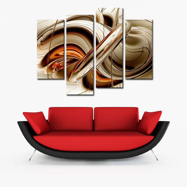 4 Unidades Línea de Pintura Del Arte Abstracto Arte de La Pared ...