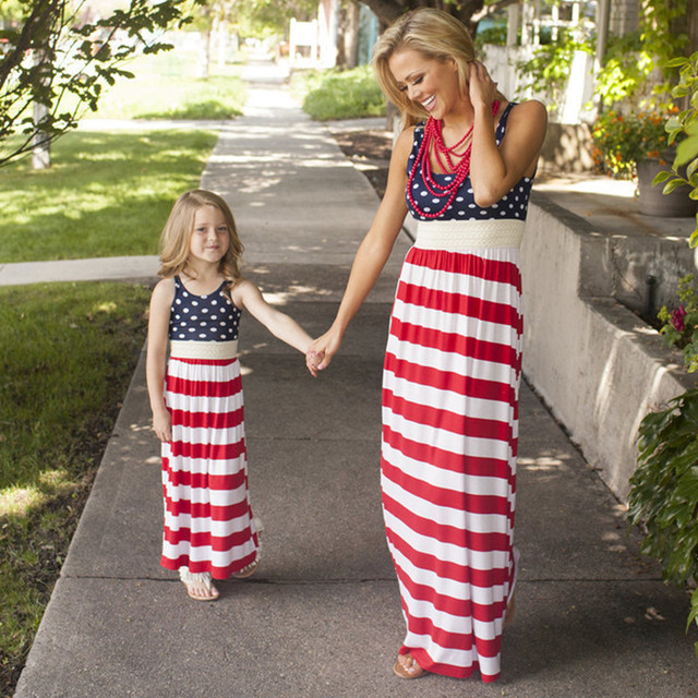 92ee0f37ab American Mother Daughter Patriotic Dress Family Look 4th of July Cotton  Dress Mommy and Me Clothes Striped Maxi Dress H0291