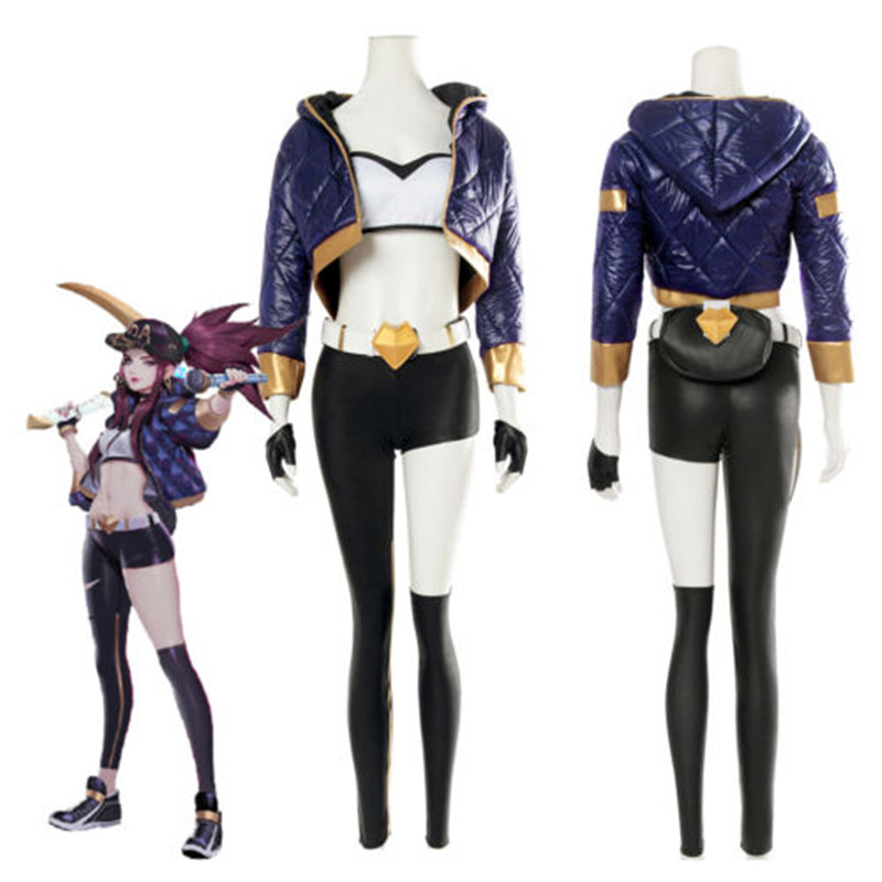 LOL KDA Akali Outfit Cosplay Costume Pop Star Coat Cap Pants Belt Glove Full Set