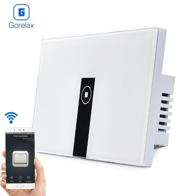 Gorelax Smart Home Automation Module Wifi Wireless Remote Control Wall Light Touch Timer Switch 1 gang with Crystal Glass Panel