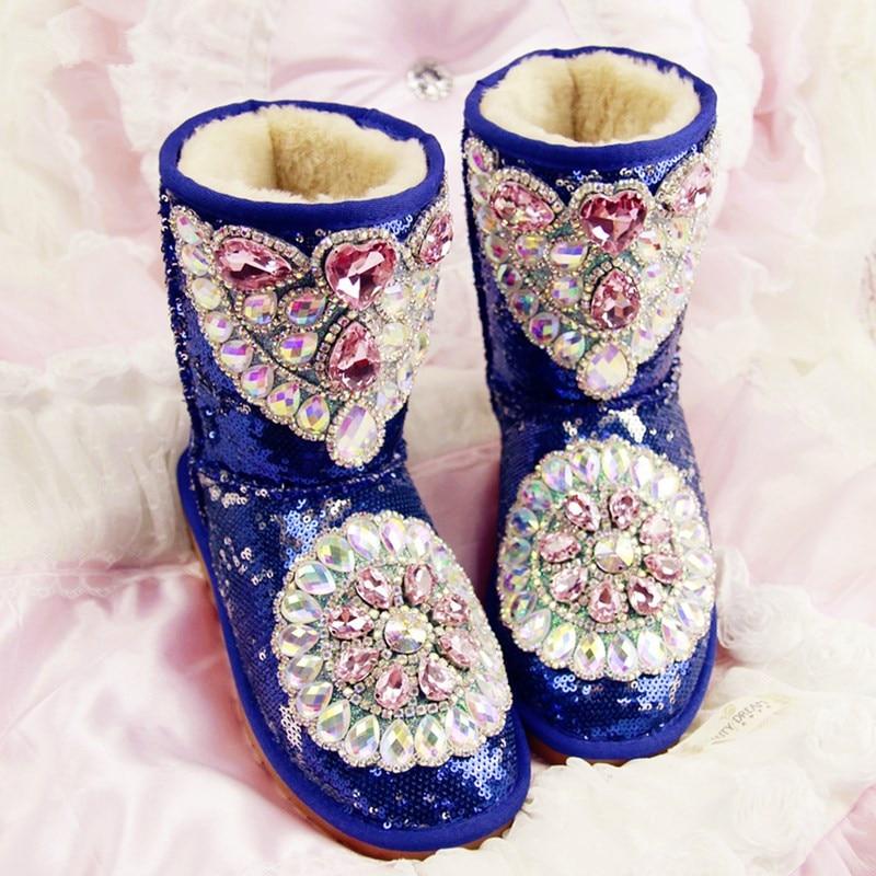 Bleu Neige Bottes Strass Plate Ont D'hiver rose Cristal Lapin En Au Augmenté forme Femmes Imperméables Diamant Appartements Cuir Fourrure Chaussures Chaud Garder De x0CvqCn1wg