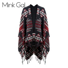 Wink Gal Winter Autumn Fashion Women Fringed Cape Geometric Pattern Tassels Shawls Oversized Maxi Scarf Female 1559