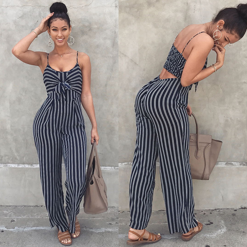 41484d70f Women Striped Wide Legs Jumpsuit Tie Front Spaghetti Straps Sleeveless  Casual Playsuit Rompers Tracksuit Korean Fashion Pantsuit-in Jumpsuits from  Women's ...