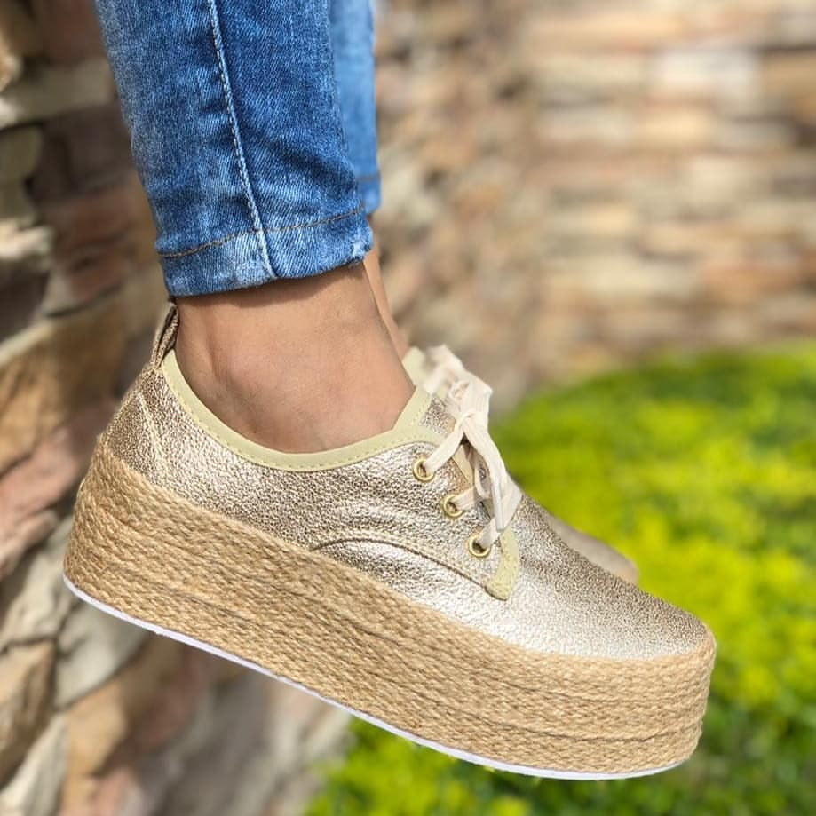 Laamei Fashion Ladies Espadrille Shoes Canvas Loafers Thick Bottom Flats Shoes Girls Lace Up Round Toe Casual Flats Footwear