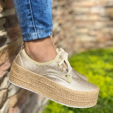 Laamei Fashion Ladies Espadrille Shoes Canvas Loafers Thick Bottom Flats Shoes Girls Lace Up Round Toe Casual Flats Footwear цены онлайн