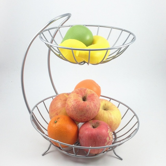 Exceptionnel New Home Decor 2 Tiers Stainless Steel Fruit Basket Rack Tray Fashion Style  Kitchen Vegetable Storage Bowl Lemon Holder