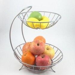 Nueva decoración del hogar 2 niveles de acero inoxidable cesta de fruta estante bandeja de estilo de moda de cocina vegetal tazón de almacenamiento de limón titular