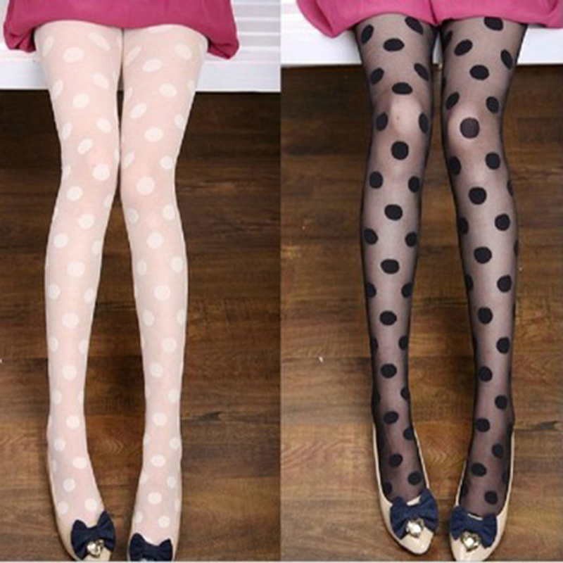 5Pcs Womens Tights Pantyhose Black Big Polka Dots Seamless Sexy Stockings Tight Female Collant Pantyhose for Ladies Medias