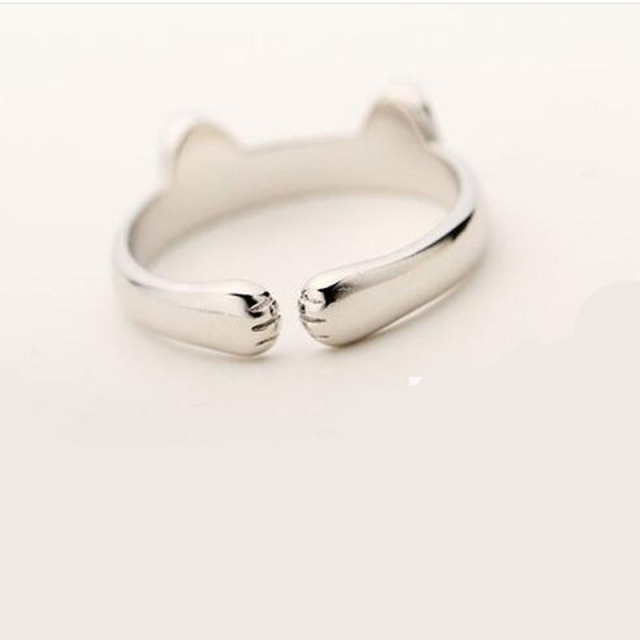 Silver Plated Ring with Cat Ears