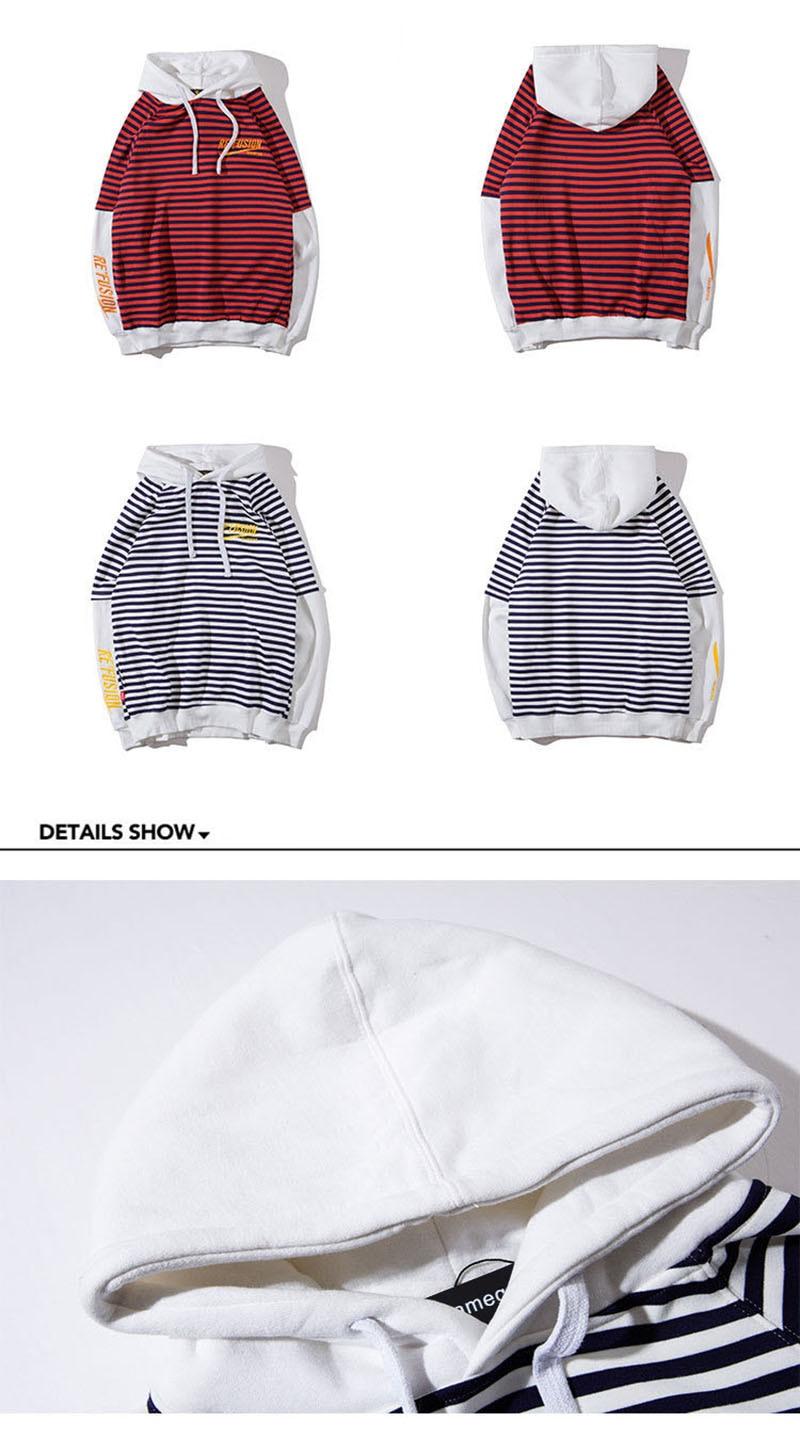 Aolamegs Male Sweatshirt Striped Hooded Sweatshirts O-Neck Pullover Loose Streetwear High Street Hip hop Fashion Winter Couple (15)