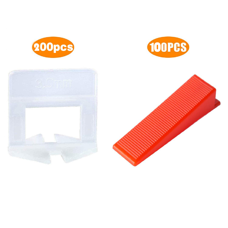 300pcs Plastic Ceramic Tile Leveling System 200 Clips+100 Wedges Tiling Flooring Tools Wedges Clips 1.5mm