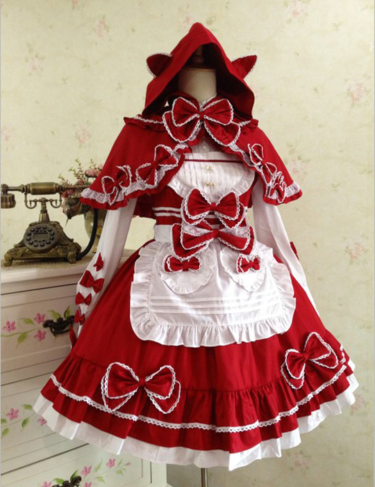 Lolita Dress Gothic Vintage Lace Little Red Riding Hood cape harness dress suit maid
