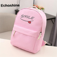 2016 Women Backpack Bags new fashion solid color Funny Smiling Face canvas New Schoolbags backpacks