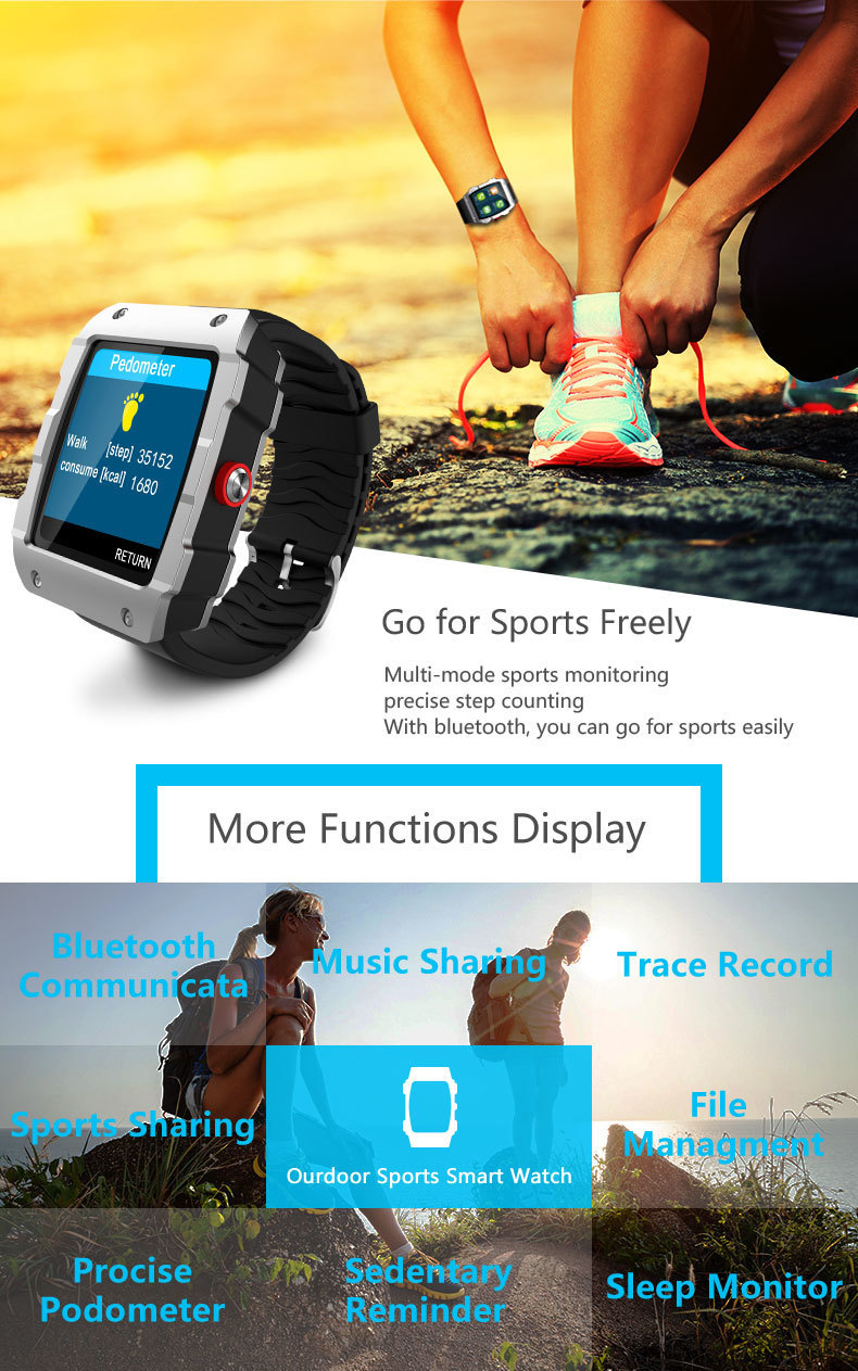 Person - LEMFO V18 GPS Smartwatch Support File management Sleep monitor Sedentary reminder Pedometer Smart Watch for IOS and Android