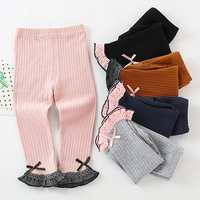Children Autumn Winter   Baby   Kids Girls Infants Knit Cotton Princess Slim Leggings Bow Lace Flare Trousers Princess   Pants   S7168