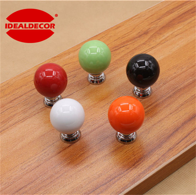 1Pc Cherry shape Candy colors Round Ceramic Door Knobs Cabinet ...
