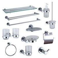 Chrome Bathroom Accessories 304 Stainless Steel Copper Shampoo Glass Soap Dispenser Holder Towel Rail Coat Hooks