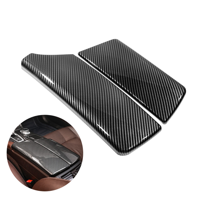 Voor Bmw 5 Serie F10 F18 2011 2012 2013 2014 2015 2016 2017 Carbon Fiber Textuur Car Center Controle Armsteun doos Pad Cover