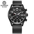 Ochstin banda de malla de acero inoxidable reloj de cuarzo de los hombres reloj deportivo negro cronógrafo reloj para hombre top brand relogio masculino masculino