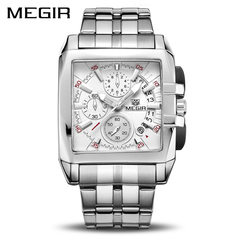 MEGIR Original Luxury Men Watch Stainless Steel Mens Quartz Wrist Watches Business Big Dial Wristwatches Relogio Masculino 2018