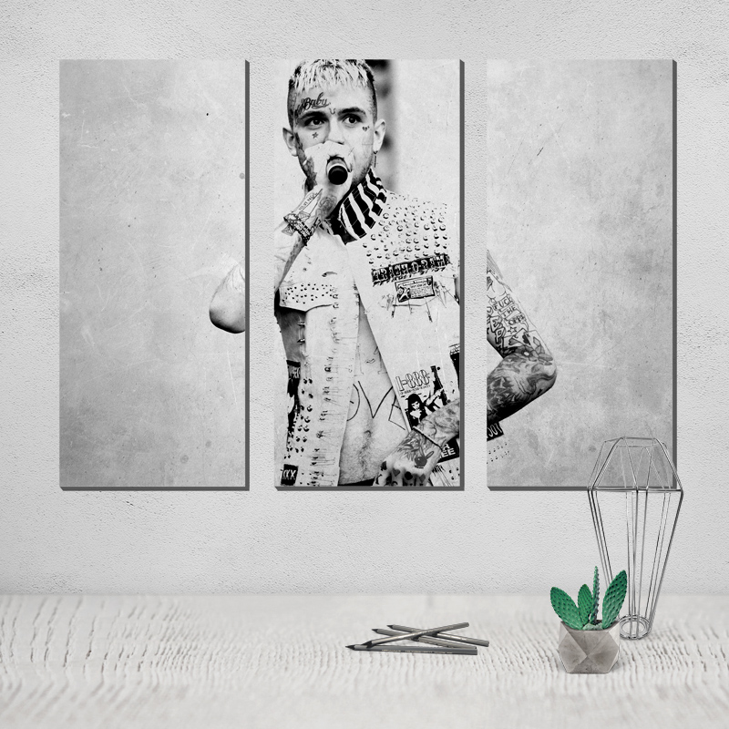 Photo Canvas Poster Lil Peep Painting Poster Black White Modern and Contemporary Painting Canvas 3 Panel Wall Art Afflatus Pop in Painting Calligraphy from Home Garden