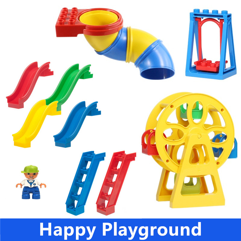 Big Building Blocks Accessory Bricks Ferris Wheel Swing Round Slide Princess Queen Doctor Compatible with Duple Baby Toys Gift