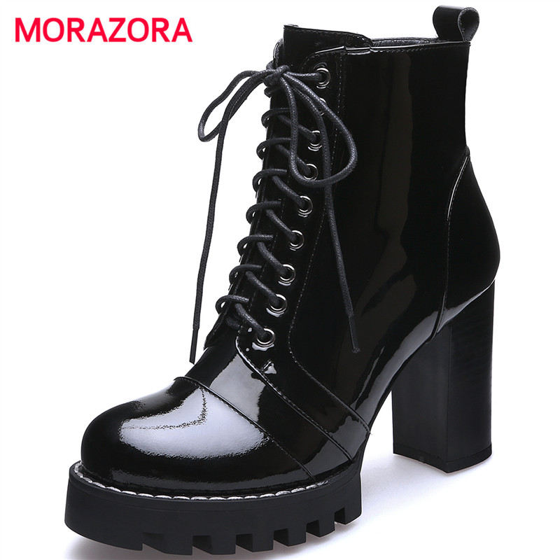 MORAZORA big size round toe square heel cross tied ankle boots for women autumn winter high heel boots genuine leather boots women ankle boots pu super high heel pointed toe boots winter autumn boots warm fur big size square heel ankle boots