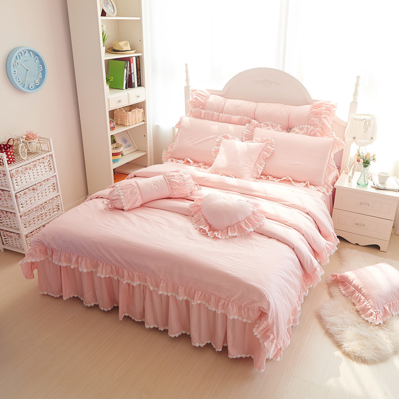 Pink Lace Princess Wedding Bedding sets 100% Cotton Home Textile Queen King size Duvet cover set Bed skirt Pillowcases