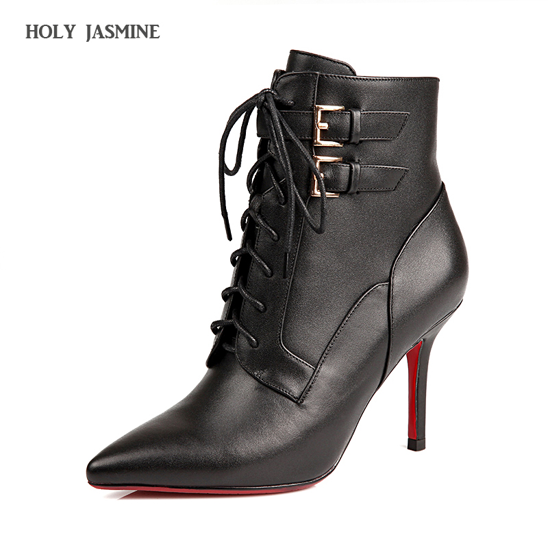 Women Boots Genuine Leather Lace-up Ankle Boots Brand Design Ankle Buckle Sexy Thin High Heel Pointed Toe Autumn Short Booties purnima sareen sundeep kumar and rakesh singh molecular and pathological characterization of slow rusting in wheat