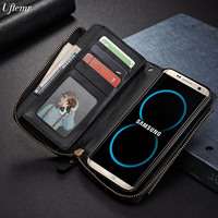 Luxury Vintage Style Leather Wallet Mobile Phone Bags For Samsung Galaxy S6 S6 Edge S7 S7