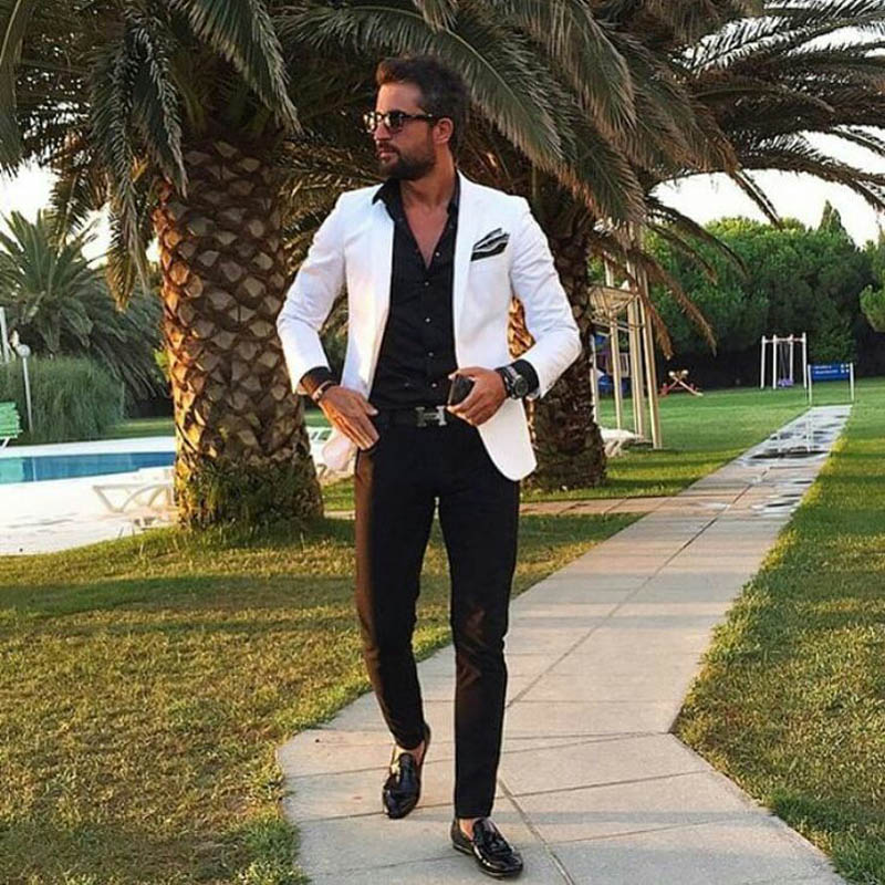 Tailor-made White Men Suits With Black Pants Summer Beach Slim Fit Costume Homme 2Piece Custom Man Blazer Jacket Terno Masculino