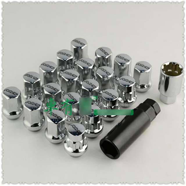 20pcs RAYS Car Wheel Nuts M12x1.5 M12x1.25 Steel Alloy Hub Screw And Bolts M12 1.5 1.25 Silver CY375-CN-2