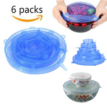 6pcs Stretch Silicon Lids Universal Lid Silicone Food Wrap Bowl Pot Cover Pan Cooking Kitchen Accessories Set