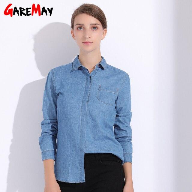 6bc0d0668ee74 Shirt Women Denim Long Sleeve Plus Size Autumn Chemise Femme Feminine Shirts  Fall Womens Clothing Women s Shirt Jeans GAREMAY
