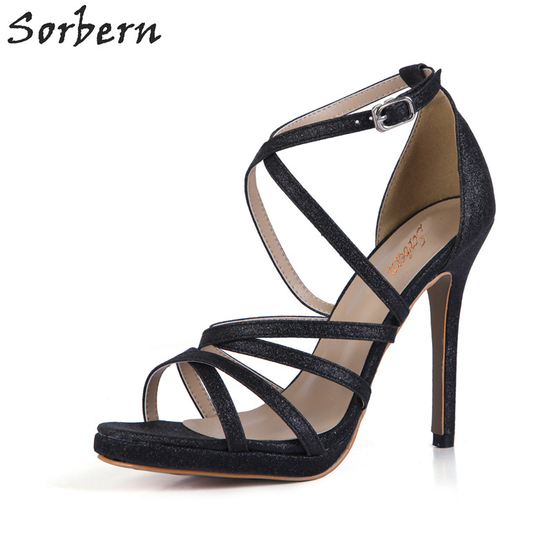Sorbern Sexy Glitter Black Sandals Night Club Party Shoes Women Summer Sandal Heels Brand Women Shoes Custom Colors Ladies Shoes women sexy prom night club black