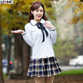 Spring&Summer&Fall Girls fashion preppy style school uniforms set blue/red plaid skirt+long sleeve blouse+ribbon student clothes
