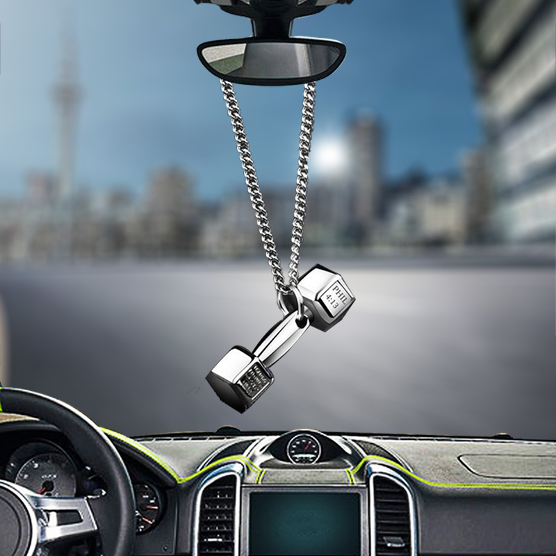 car pendant creative auto rearview mirror decorative alloy material domineering dumbbell car. Black Bedroom Furniture Sets. Home Design Ideas