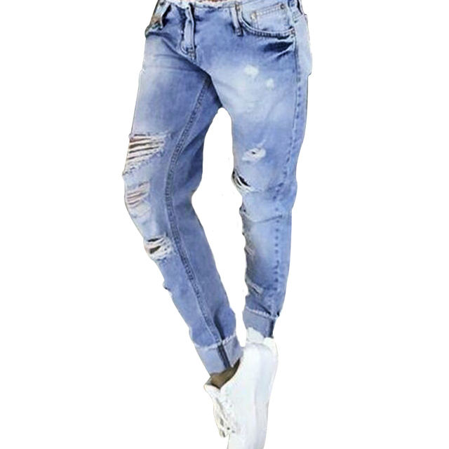 New 2016 Hot Fashion Ladies Hgih Waist Ripped Holes Denim Pants Stretch Womens Casual Blue Skinny Jeans For Female Trousers
