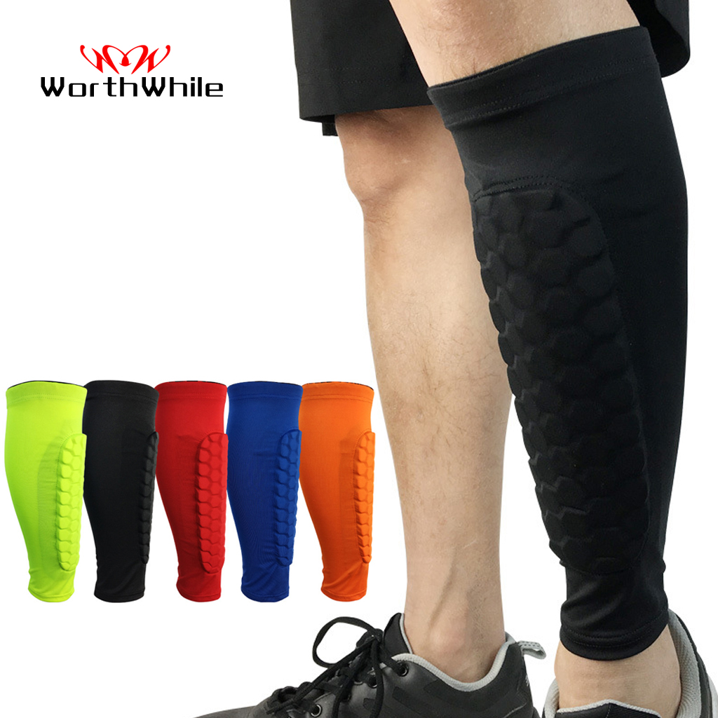 WorthWhile 1 PC Honeycomb Shin Guard Professional Sports Football Shields Soccer Legging Shinguards Leg Sleeves Protective Gear