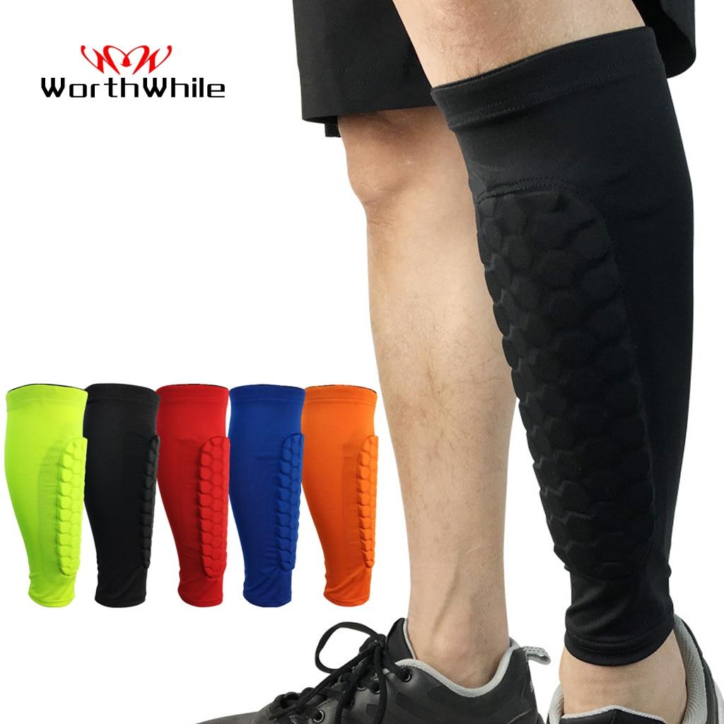 WorthWhile 1 PC Honeycomb Shin Guard Professional Sports Football Shields Soccer Legging Shinguards Leg Sleeves Protective Gear