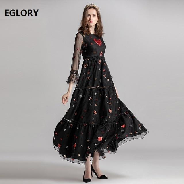 Newest Designer Fashion Women Evening Party Elegant Long Dress 2018 Ladies  Sweetheart Diamond Beading Embroidery Maxi Dress XXL 9b97cd04bf1b