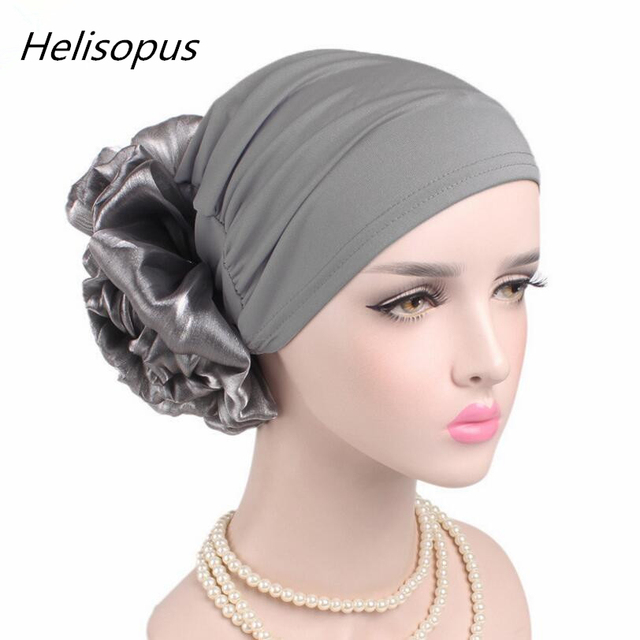 New Woman Big Flower Turban Hair Accessories Elastic Cloth Hair Bands Hat  Chemo Beanie Ladies Muslim 6b6cd507c7d7