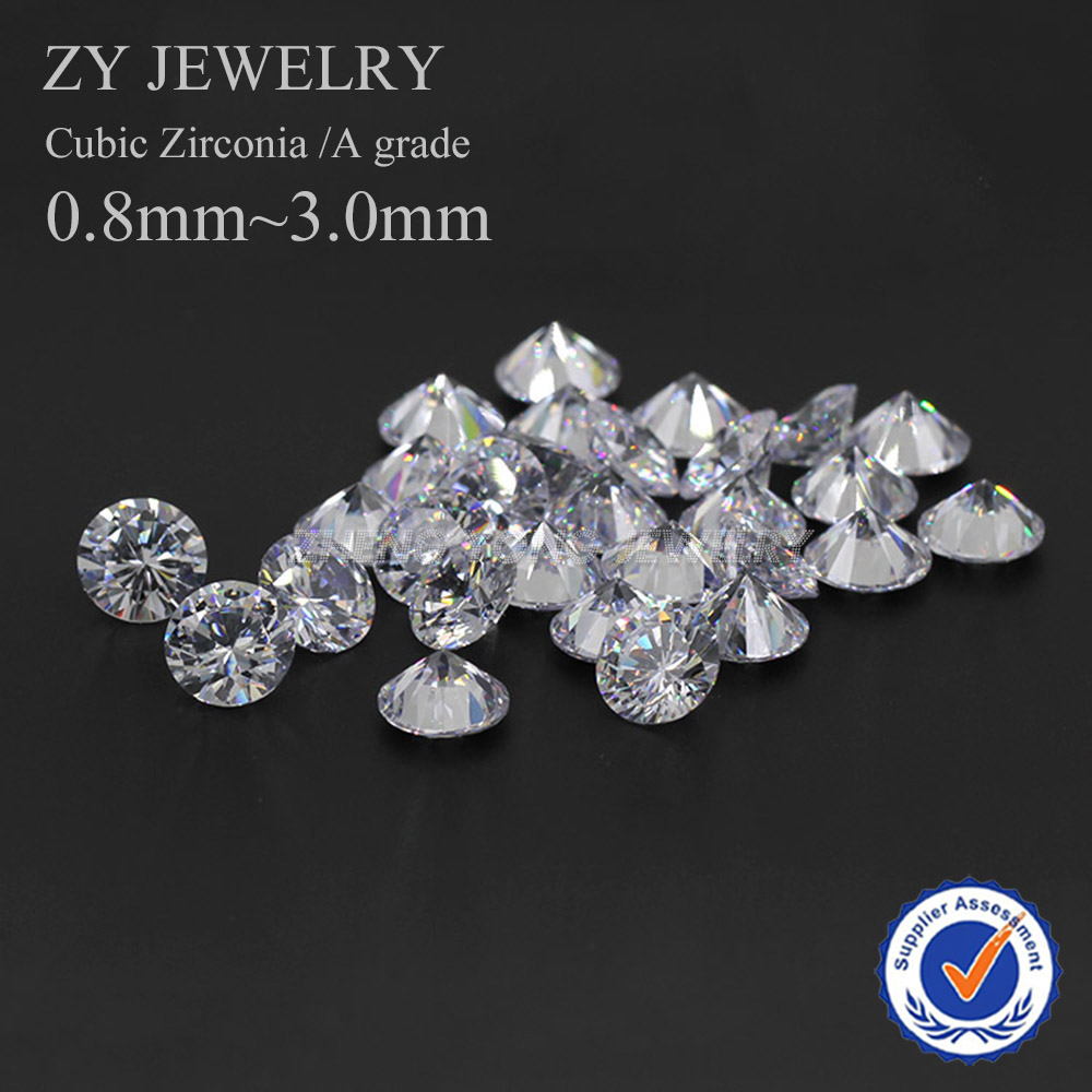 1000pcs 0.8~3.0mm A Grade White Round Machine Cut Cubic Zirconia Lab Created Loose CZ Stone Synthetic Gems For Jewelry