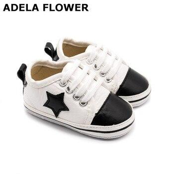 782498ca Adela flor bebé zapatos de cuero de la PU con estampado de estrella de los  niños niño niña suave suela zapatillas de deporte bendición zapatos, ...