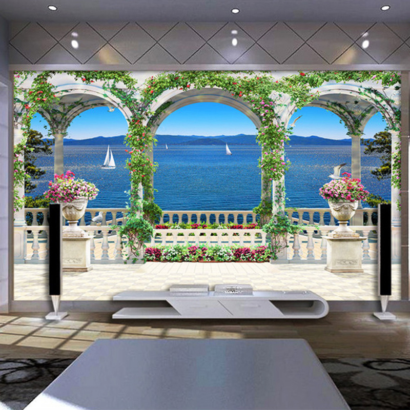 Photo Wallpaper 3D Seaside Scenery Backdrop Wall Mural Living Room Bedroom Restaurant Wall Painting Papel De Parede 3D Paisagem