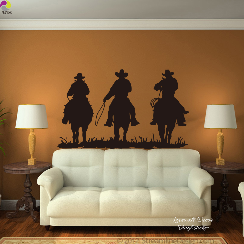 US $7.99 11% OFF|Large Horse Riding Wall Sticker Living Room 3 Cowboy  Horses Mustang Farm Animal Wild West Wall Decal Bedroom Kids Room Vinyl  DIY-in ...