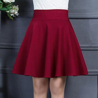 Autumn Winter Women Pleated Skirt Female High Waist Casual Skirts Womens Elastic Waist Black &Wine Red Short Skirt M XXL
