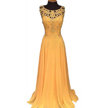 b8d14481edca Women Formal Long Ball Gown Party Prom Wedding Bridesmaid Yellow party Dress  Beading Hollow Out Vestidos Maxi Dress